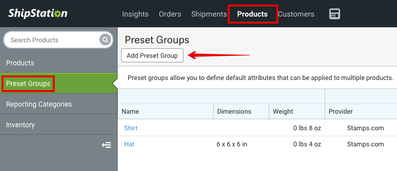 Products sidebar with Preset Groups highlighted and arrow pointed to Add Preset Group button.