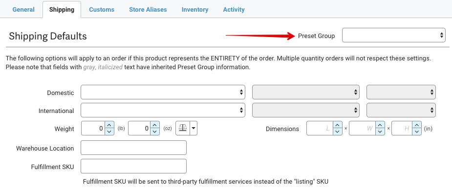 Shipping defaults tab with arrow pointed to Preset group dropdown.