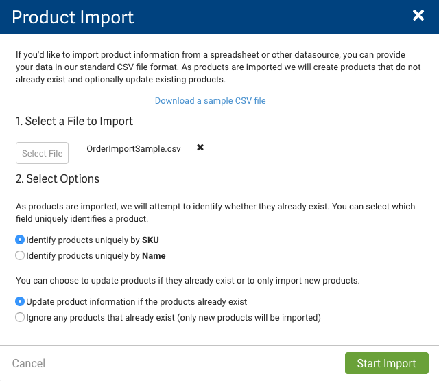 Product import pop-up