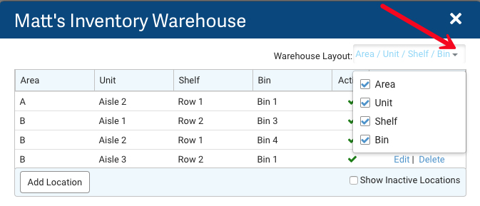 Settings: Inventory Warehouse. Red arrow points to Warehouse Layout options: Area, Unit, Shelf, Bin