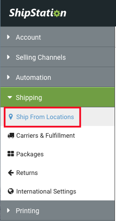 Settings Sidebar: Shipping dropdown. Red box highlights Ship From Location option.