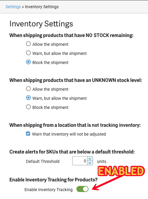 Arrow points to Enabled status for Product Inventory Tracking