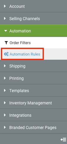 Settings Sidebar: Automation dropdown. Red box highlights Automation Rules option.