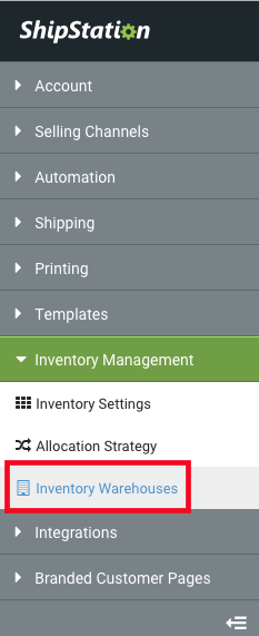 Settings Sidebar: Inventory Management dropdown. Red box highlights Inventory Warehouses option.