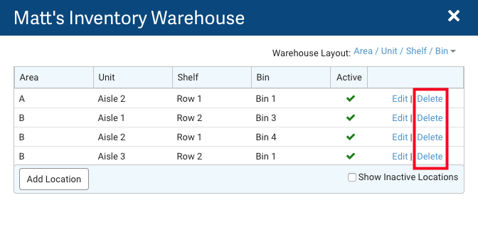 Inventory Warehouse layout. Red box highlights Delete actions.