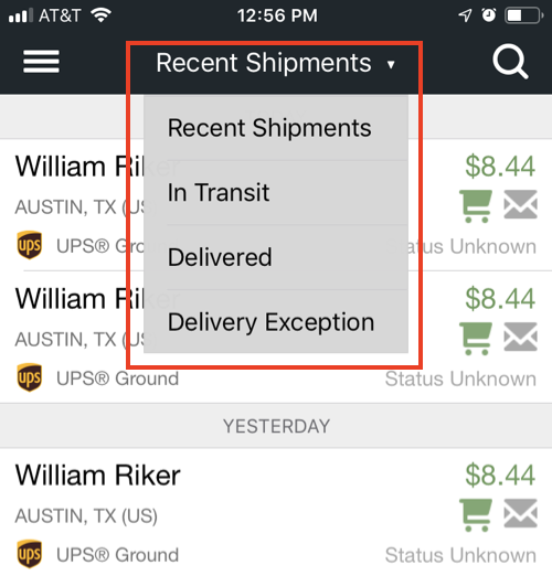 Mobile shipment status drop-down