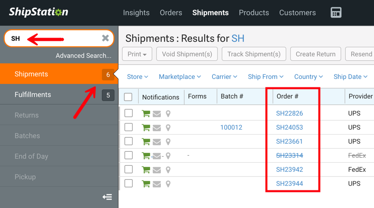 Shipment sidebar search bar with the term SH and arrow pointed Shipments menu item and highlights around the order numbers starting with SH.