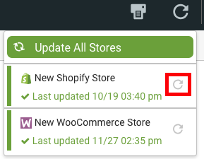 Import Stores menu with Refresh icon highlighted.