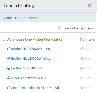 Labels Printing popup. Lists available printers.