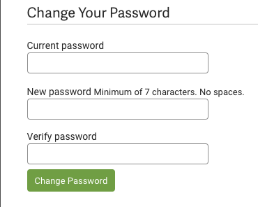 Settings, Account, MY PROFILE option. Change Password options