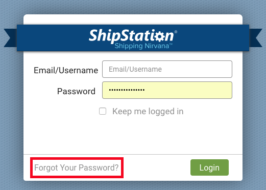 Login page with Forgot your password highlighted.