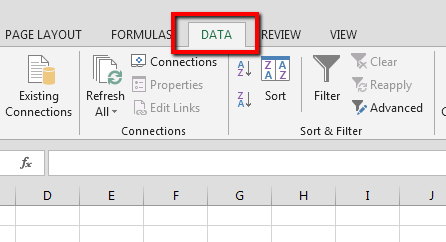 Excel UI with Data tab highlighted.