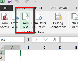 Excel UI with From Text icon highlighted.