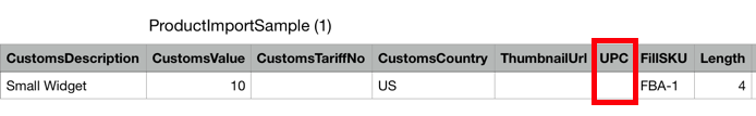 Product import CSV headings and fields. Red box highlights UPC field