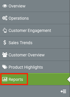 Sidebar menu with Reports option highlighted.