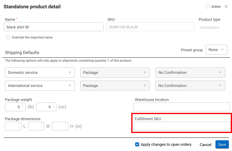 Standalone product details window from order items link with a red box highlighting the Fulfillment SKU field.
