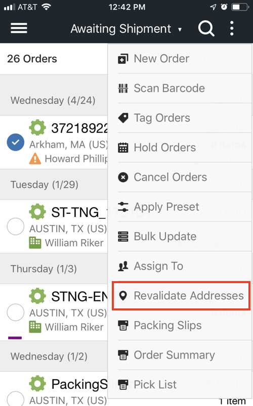 Mobile order Actions menu with Revalidate Addresses highlighted.