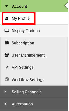 Settings Sidebar: Account dropdown. Red box highlights My Profile option.