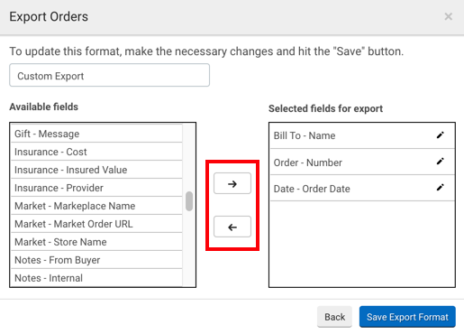 Red box highlights left- and right-facing arrows to move selections between Available Fields & Fields to Export listings.