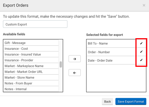 Export Orders popup. Red box highlights Edit buttons beside selections in Fields to Export column.