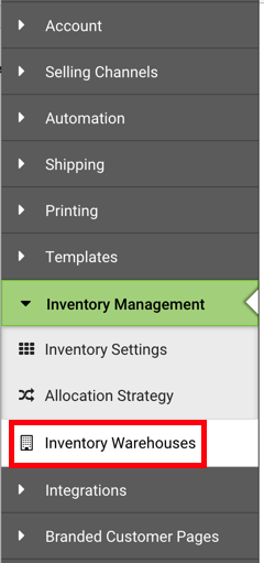 Settings Sidebar. Inventory Management dropdown: Red box highlights Inventory Warehouses option.