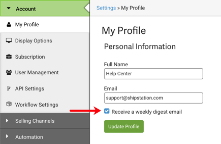 Settings: Account tab, My Profile. Red arrow points to checkbox to Receive a weekly digest email