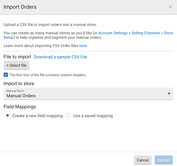 CSV Import pop-up. Select file button. Download Link for sample CSV. Import to Store dropdown. Field mapping selections.