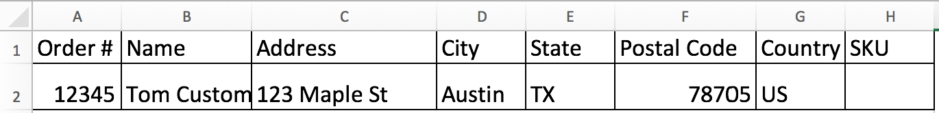An order CSV file in Excel with order information filled in.