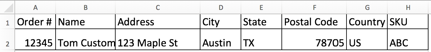 An order CSV file in Excel with order information filled in all columns.