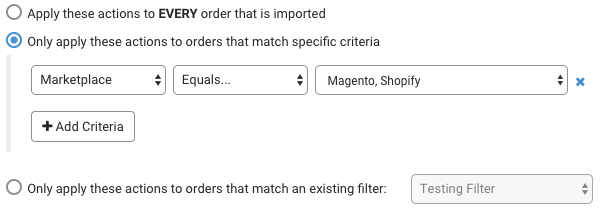 "Shows multiple options on a single criteria to demonstrate the ""OR"" rule"