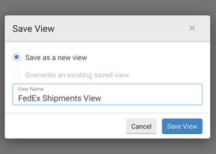 Save View popup. 2 Radio buttons: Save as a new view & Overwrite existing view. Field for filtered view name and Save View action button.
