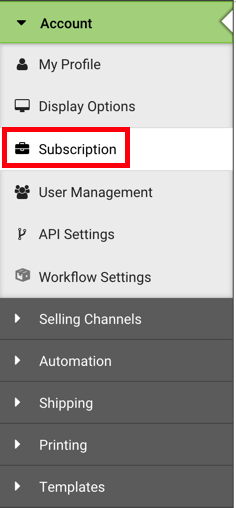 Settings Sidebar: Account dropdown. Red box highlights Subscription option.