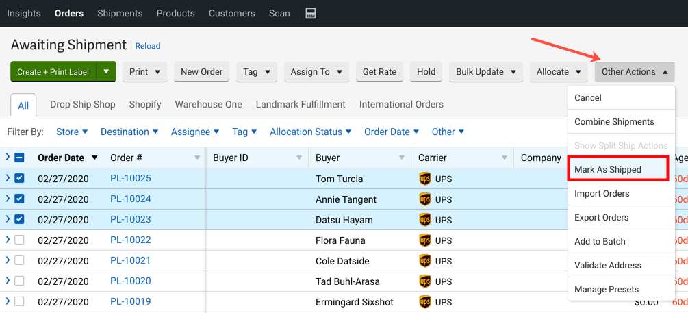 V3 Orders tab Other Actions menu, mark as shipped highlighted