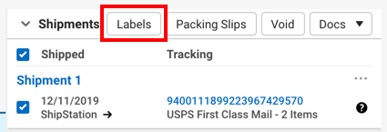 V3 order details. Red box highlights the Print Label action in the shipment record section.