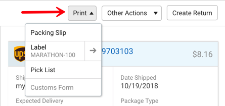 V3 Shipment Details. Red arrow points to Print menu, with drop-down options.