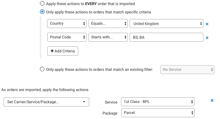 Automation Rules. Example for when to use Domestic Shipping