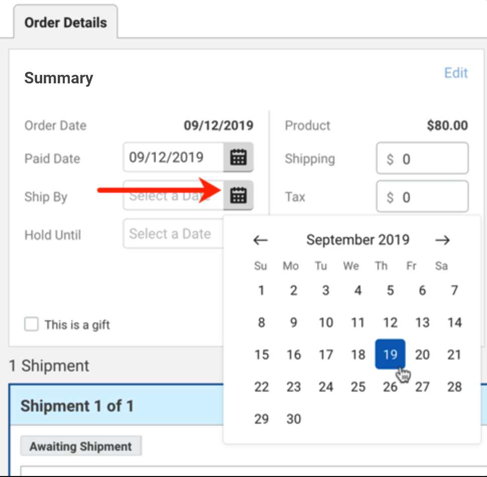 Order Summary in Order Details. Red arrow points to Calendar icon for Ship By date.