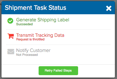 Shipment Status pop-up. Error reads: Transmit Tracking Data, Request is throttled. Red shopping cart icon. Button reads: Retry Failed Steps