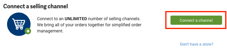 Connect a selling channel prompt with button highlighted.