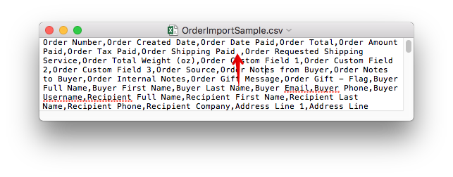 CSV file in a text editor with an arrow pointing to an extra space before a comma.