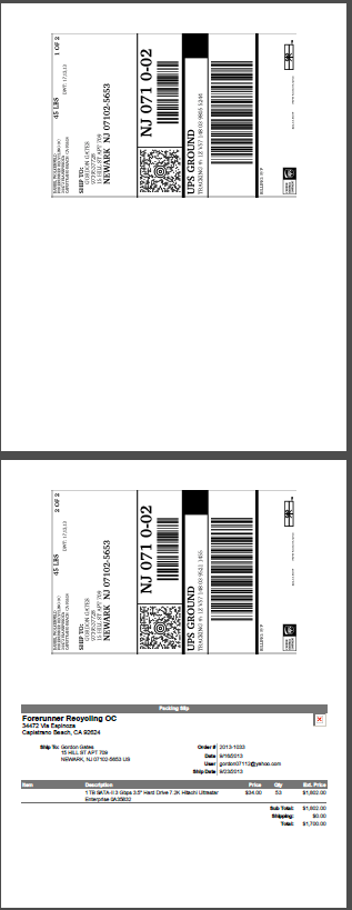 Label printing layout with labels printed on top of page and packing slip on the bottom of the page.