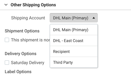 Other Shipping Options section with Shipping Account drop-down menu displaying two DHL accounts.