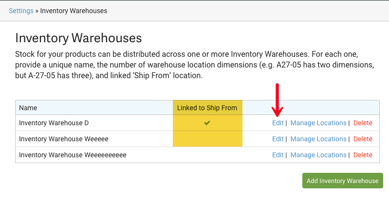 Inventory Warehouse Layout. Red arrow points to Edit action. Yellow highlights Linked to Ship From