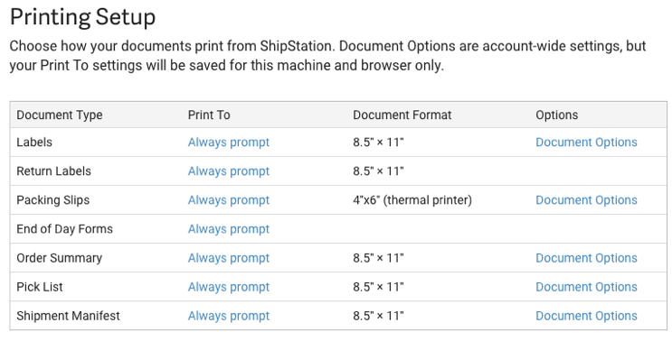 Printing Setup document options for document type, print to, document format, and other document options.