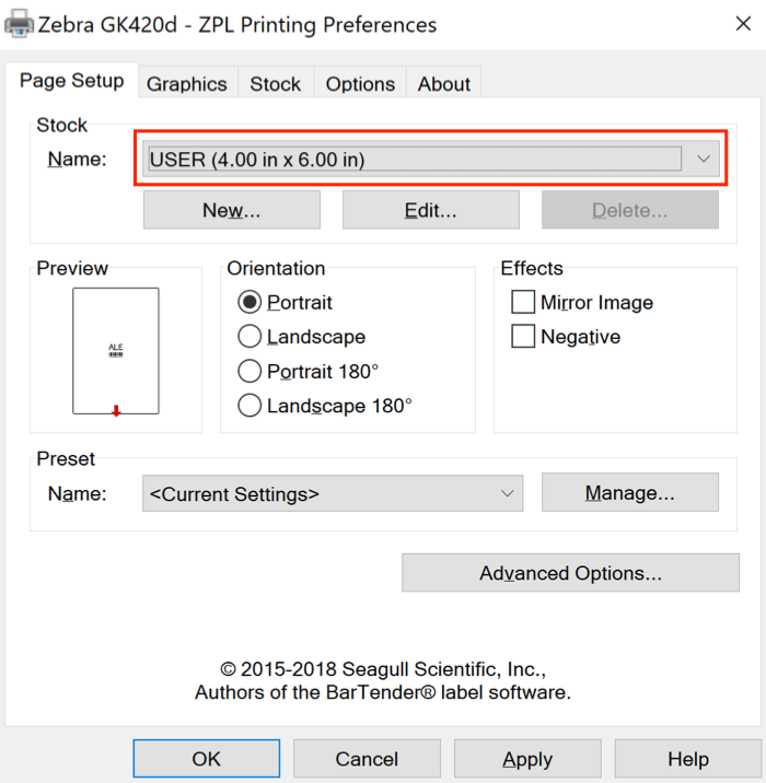 Printer preference Page Setup tab with Name highlighted.