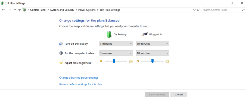 Windows Power Plan settings with Change advanced power settings option highlighted.