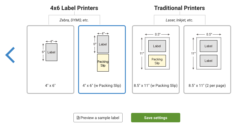 Label layout options for 4x6 labels or traditional printers.