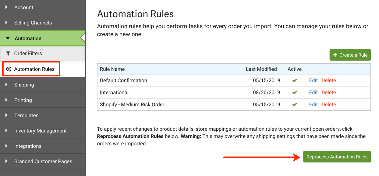 Automation Rules. Arrow points to Reprocess Automation Rules button.