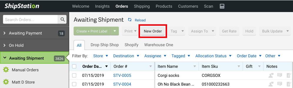 Orders tab. Red box highlights New Order button